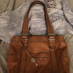 Fossil Genuine Leather Camel  Roomy Shoulder Bag